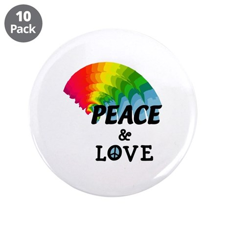"Rainbow Peace and Love 3.5"" Button (10 pack)"