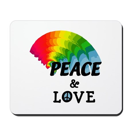 Rainbow Peace and Love Mousepad