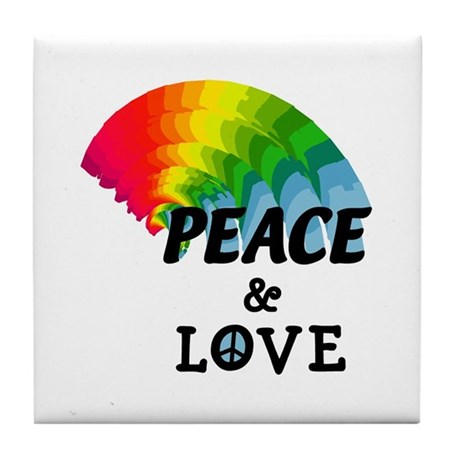 Rainbow Peace and Love Tile Coaster