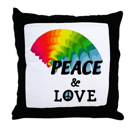 Rainbow Peace and Love Throw Pillow