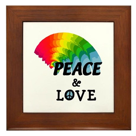 Rainbow Peace and Love Framed Tile