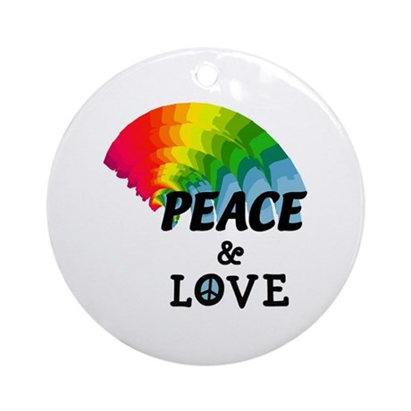 Rainbow Peace and Love Ornament (Round)