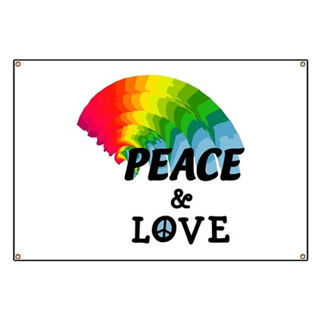 Rainbow Peace and Love Banner