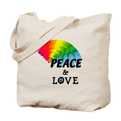 Rainbow Peace and Love Tote Bag