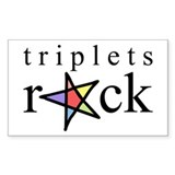 Triplets ROCK (Pastels) Rectangle Decal