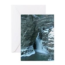 Winter Waterfall In Watkins Glen Greeting Card