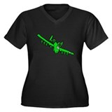 A-10 Green Women's Plus Size V-Neck Dark T-Shirt