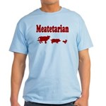 Meatetarian Maroon on Tarheel Blue T-Shirt