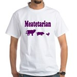 Meatetarian Purple on White T-Shirt