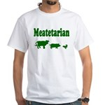 Meatetarian Green on White T-Shirt
