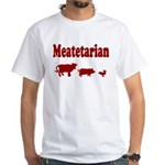 Meatetarian Red on White T-Shirt