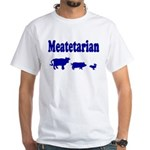 Meatetarian Blue on White T-Shirt