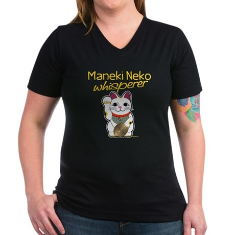 Maneki Neko Whisperer Women's V-Neck Dark T-Shirt