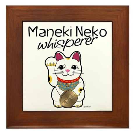 Maneki Neko Whisperer Framed Tile