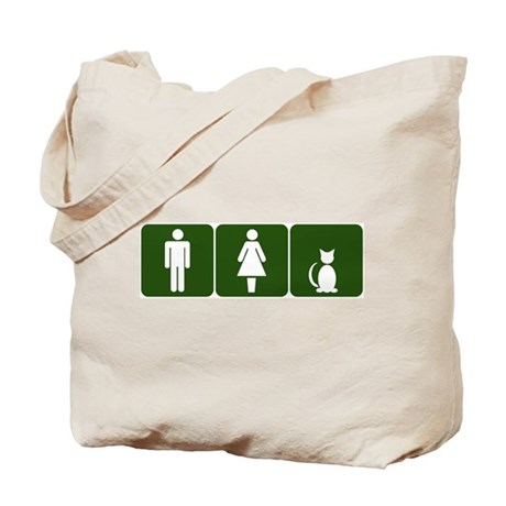Cat Restroom Sign Tote Bag