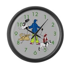 Walking Flyball Dogs Large Wall Clock