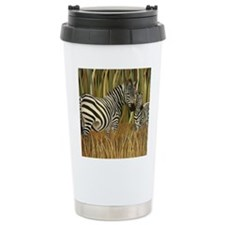 Zebras Grazing in the Grass Ceramic Travel Mug