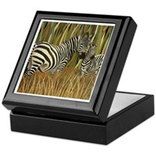 Zebras Grazing in the Grass Keepsake Box