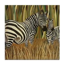 Zebras Grazing in the Grass Tile Coaster