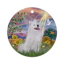 Cloud Angel & Samoyed Ornament (Round)