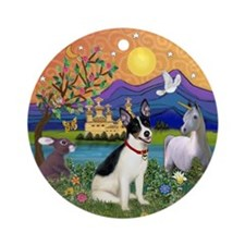 Rat Terrier in Fantasy Land Ornament (Round)