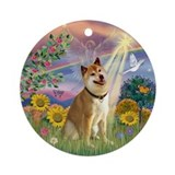 Cloud Angel and Shiba Inu Ornament (Round)
