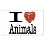 I Heart Animals Rectangle Sticker