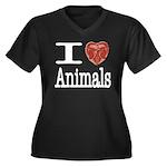 I Heart Animals Women's Plus Size V-Neck Dark T-Sh