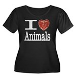 I Heart Animals Women's Plus Size Scoop Neck Dark