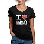 I Heart Animals Women's V-Neck Dark T-Shirt