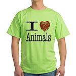 I Heart Animals Green T-Shirt