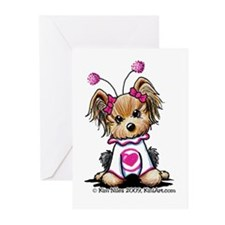 Love Bug Yorkie Greeting Cards (Pk of 20)