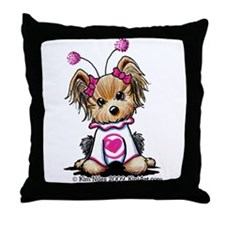 Love Bug Yorkie Throw Pillow
