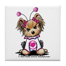 Love Bug Yorkie Tile Coaster