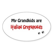 Italian Greyhound Grandkids Oval Decal
