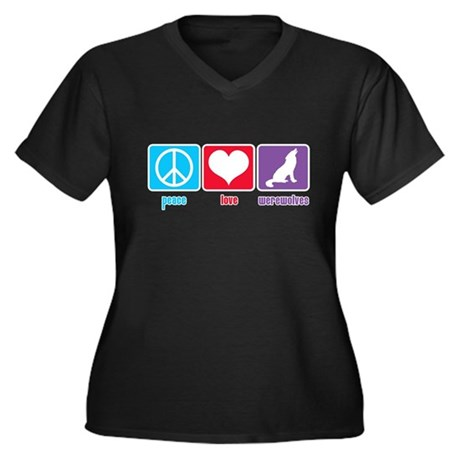 Peace Love Werewolves Women's Plus Size V-Neck Dar