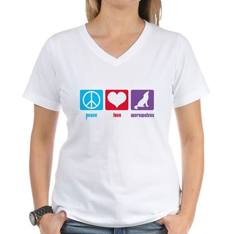Peace Love Werewolves Women's V-Neck T-Shirt