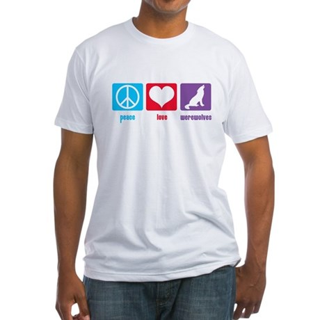 Peace Love Werewolves Fitted T-Shirt