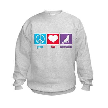 Peace Love Werewolves Kids Sweatshirt