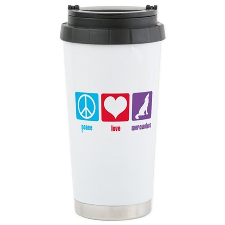 Peace Love Werewolves Ceramic Travel Mug