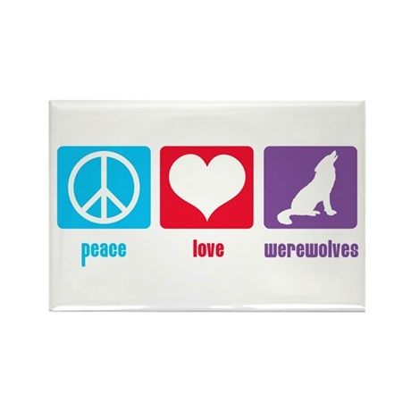 Peace Love Werewolves Rectangle Magnet (100 pack)