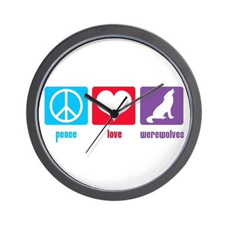 Peace Love Werewolves Wall Clock