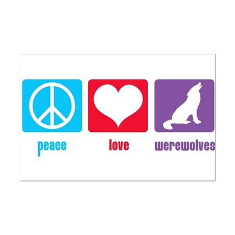Peace Love Werewolves Mini Poster Print