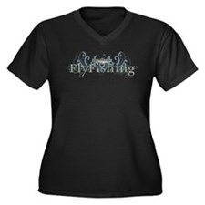 Vintage Fly Fishing Women's Plus Size V-Neck Dark