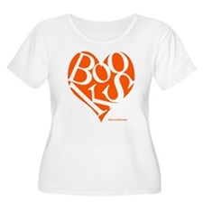 Women's Plus Size T-Shirt with ORANGE Books Heart