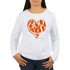 Women's Long Sleeve Tee with ORANGE Books Heart