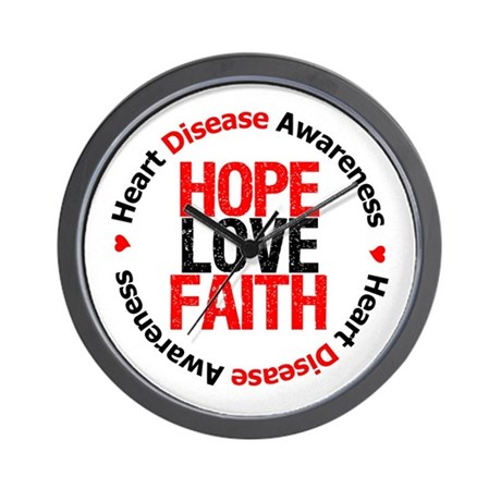 HeartDiseaseHopeLoveFaith Wall Clock