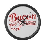bacon it's what's for dinner Large Wall Clock
