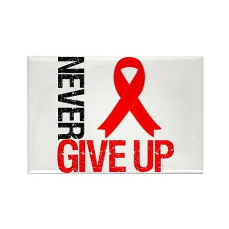 Heart Disease NeverGiveUp Rectangle Magnet