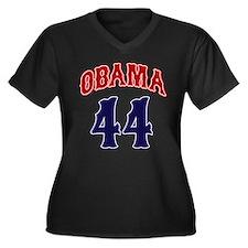 Obama 44 rwb Women's Plus Size V-Neck Dark T-Shirt
